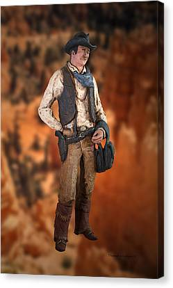John Wayne The Cowboy Canvas Print by Thomas Woolworth