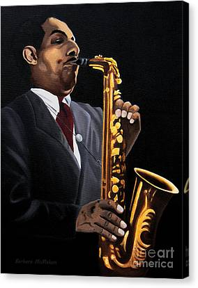 Johnny And The Sax Canvas Print by Barbara McMahon