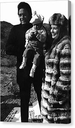Canvas Print featuring the photograph Johnny Cash And Family Old Tucson Arizona 1971 by David Lee Guss