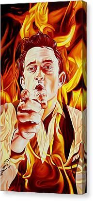 Johnny Cash And It Burns Canvas Print by Joshua Morton