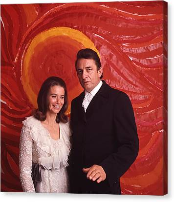 Johnny Cash And June Carter Cash Canvas Print by Retro Images Archive