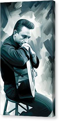 Johnny Cash Canvas Print - Johnny Cash Artwork 3 by Sheraz A