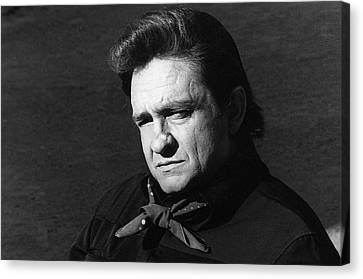 Canvas Print featuring the photograph Johnny Cash Close-up The Man Comes Around Music Homage Old Tucson Az  by David Lee Guss