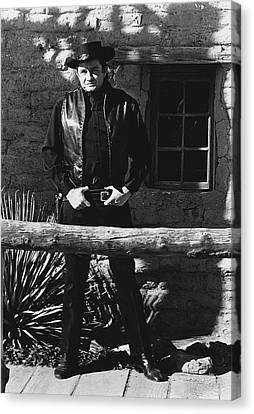 Canvas Print featuring the photograph Johnny Cash Gunslinger Hitching Post Old Tucson Arizona 1971  by David Lee Guss