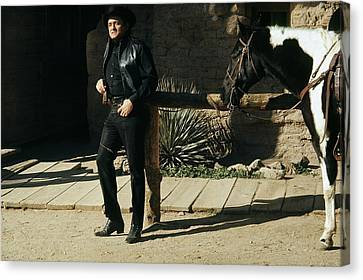 Canvas Print featuring the photograph Johnny Cash Horse Old Tucson Arizona 1971 by David Lee Guss