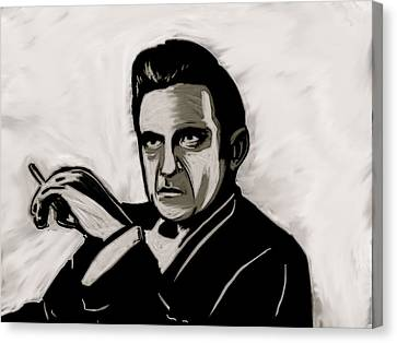 Canvas Print featuring the painting Johnny Cash by Jeff DOttavio