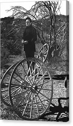 Canvas Print featuring the photograph Johnny Cash  Meditating Wagon Wheel Graveyard Old Tucson Arizona 1971 by David Lee Guss