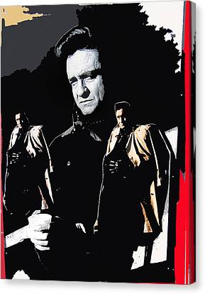 Canvas Print featuring the photograph Johnny Cash Multiples  Trench Coat Sitting Collage 1971-2008 by David Lee Guss