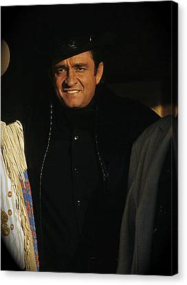 Canvas Print featuring the photograph Johnny Cash Music Homage Solitary Man Flanked By Chill Wills  Andy Devine Old Tucson Az 1971 by David Lee Guss