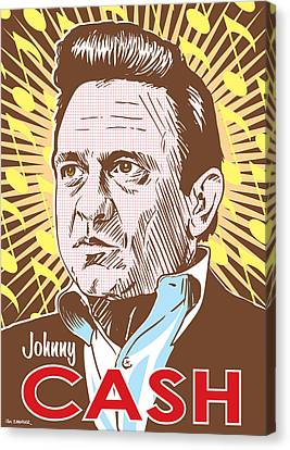 Johnny Cash Canvas Print - Johnny Cash Pop Art by Jim Zahniser