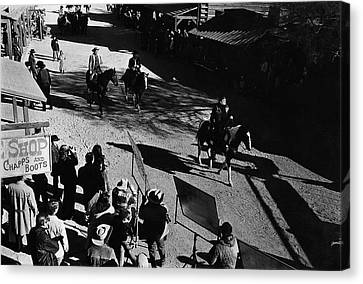 Canvas Print featuring the photograph Johnny Cash Riding Horse Filming Promo Main Street Old Tucson Arizona 1971 by David Lee Guss