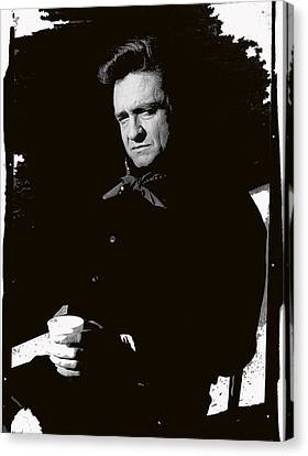 Canvas Print featuring the photograph Johnny Cash Sitting With Cup  Old Tucson Arizona 1971-2009 by David Lee Guss