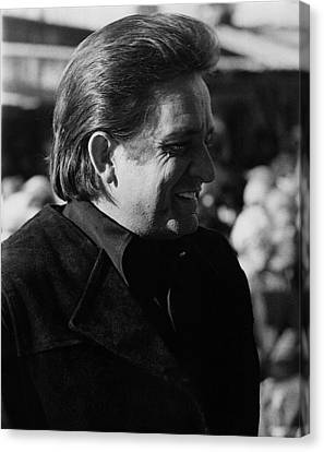 Canvas Print featuring the photograph Johnny Cash Smiling Old Tucson Arizona 1971 by David Lee Guss