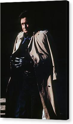 Canvas Print featuring the photograph Johnny Cash Trench Coat Old Tucson Arizona 1971 by David Lee Guss
