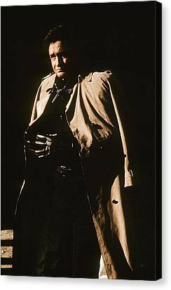 Canvas Print featuring the photograph Johnny Cash Trench Coat Variation  Old Tucson Arizona 1971 by David Lee Guss