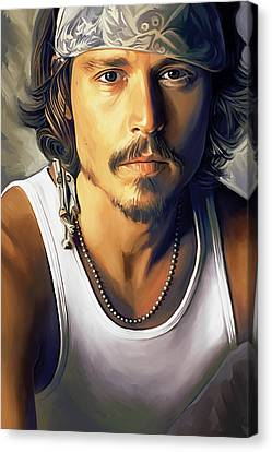 Johnny Depp Artwork Canvas Print by Sheraz A