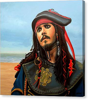 Artwork On Canvas Print - Johnny Depp As Jack Sparrow by Paul Meijering