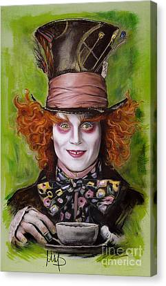 Johnny Depp As Mad Hatter Canvas Print by Melanie D