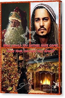Johnny Depp Xmas Greeting Canvas Print
