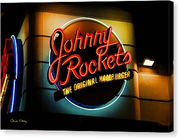 Johnny Rockets Sign Canvas Print by Chuck Staley