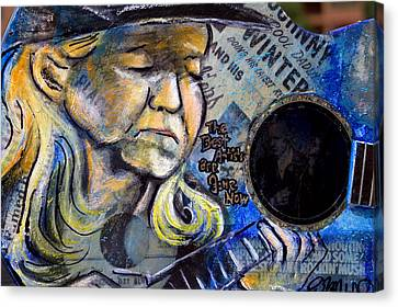 Johnny Winter Painted Guitar Canvas Print by Fiona Kennard