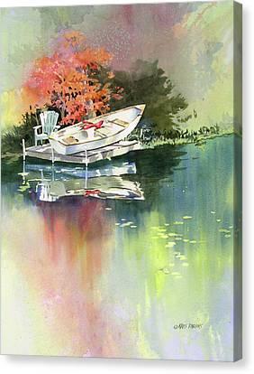 Rowboat Canvas Print - Johns Boat Autumn by Kris Parins