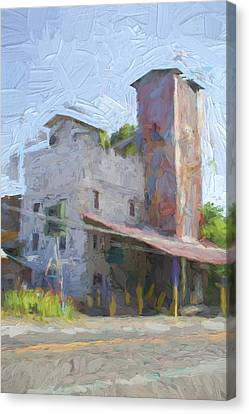 Johnson City Texas Old Feed Mill Canvas Print by JG Thompson