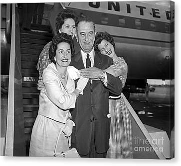 Canvas Print featuring the photograph Johnson Family 1960 by Martin Konopacki Restoration
