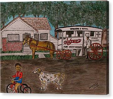 Canvas Print featuring the painting Johnsons Milk Wagon Pulled By A Horse  by Kathy Marrs Chandler