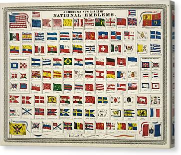 Johnsons New Chart Of National Emblems Canvas Print