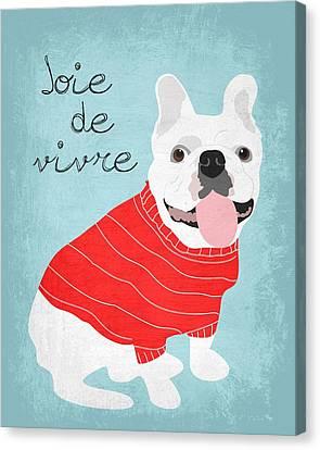 Joie De Vivre French Bulldog  Canvas Print by Ginger Oliphant