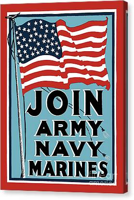 Join Army Navy Marines Canvas Print by God and Country Prints
