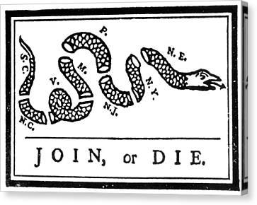 Join Or Die Cartoon, 1754 Canvas Print