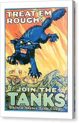 Join The Tanks Word War 1 Enlistment Art Canvas Print by Presented By American Classic Art