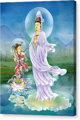 Joining Palms Kuan Yin Canvas Print by Lanjee Chee