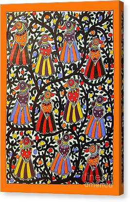 Joint Family Of Birds-madhubani Painting Canvas Print
