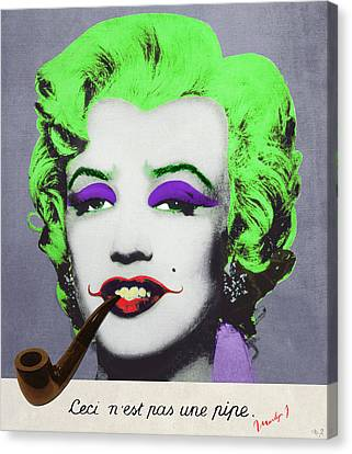 Dracula Canvas Print - Joker Marilyn With Surreal Pipe by Filippo B