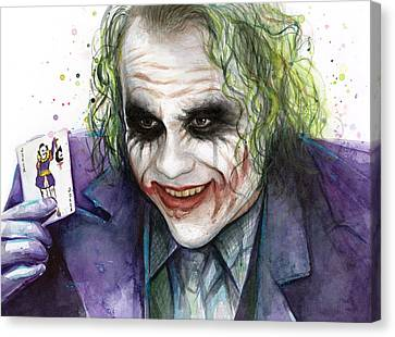 Joker Watercolor Portrait Canvas Print by Olga Shvartsur