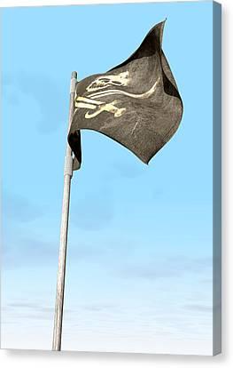 Jolly Roger Pirate Flag Far Canvas Print by Allan Swart