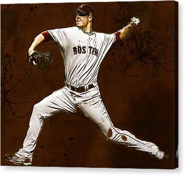 Jon Lester Former Boston Red Sox Canvas Print by Dennis Wickerink