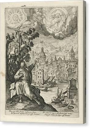 Jonah Sitting Under The Gourd, Crispijn Van De Passe Canvas Print