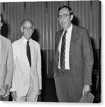 Jonas Salk And Frederick Murphy Canvas Print