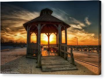 Canvas Print featuring the photograph Jones Beach Sunset On Long Island New York by Linda Karlin