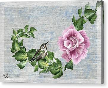 Canvas Print featuring the painting Joni's Flying Jewel by Ella Kaye Dickey
