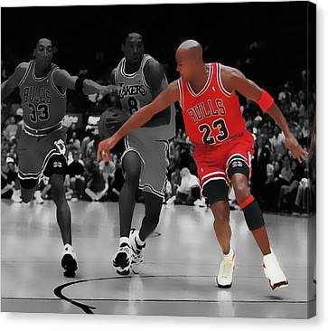 Jordan And Pippen Give Me That Canvas Print by Brian Reaves