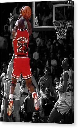 Michael Jordan Canvas Print - Jordan Buzzer Beater by Brian Reaves