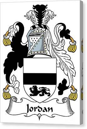 Jordan Canvas Print - Jordan Coat Of Arms Irish by Heraldry