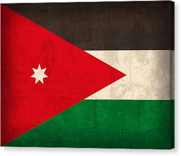 Jordan Flag Vintage Distressed Finish Canvas Print by Design Turnpike