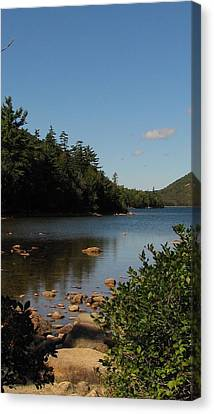 Canvas Print featuring the photograph Jordan Pond Bar Harbor Maine by Jennifer Wheatley Wolf