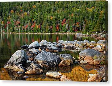 Jordan Pond In Evening Light In Autumn Canvas Print by Michel Hersen